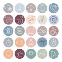 iconos de redes sociales circulares pastel vector
