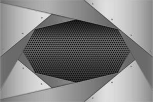 Metallic silver layered angled panels with perforated texture vector