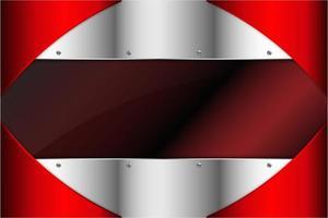 Paneles metálicos rojos y plateados con espacio oscuro. vector