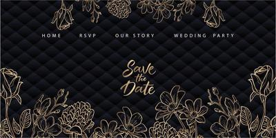 Golden floral wedding landing page with blue upholstery vector
