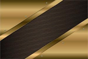Metallic gold angled panels with carbon fiber texture vector