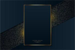 Luxury frame of blue and gold over glowing dots vector