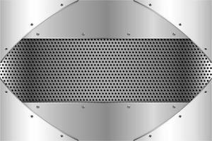 Metallic silver panels with screws on perforated texture vector