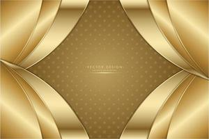 Gold metallic curved layered panels background. vector