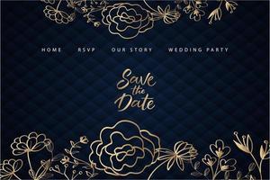 página de inicio de boda floral dorada con tapicería azul