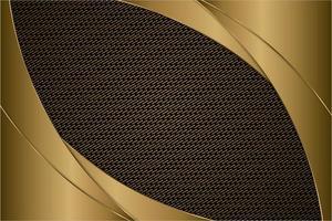 Paneles curvos de oro metálico con textura de fibra de carbono. vector