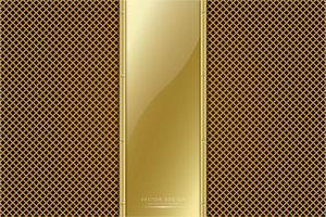 panel dorado metálico con textura de línea dorada vector
