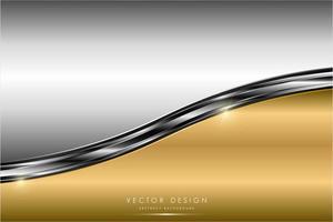 Paneles curvos metálicos dorados y plateados brillantes. vector
