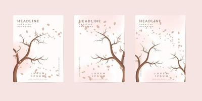 Autumn nature book cover templates vector