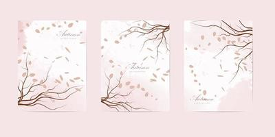 Autumn nature book cover templates vector