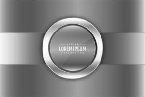 Metallic silver panels with round button vector