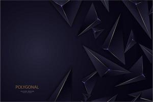 Dark blue and gold line 3d triangles modern design vector