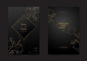 Floral wedding invitation card. vector