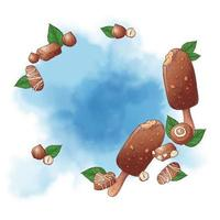Ice cream popsicle and nuts chocolate background vector