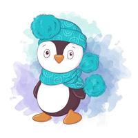 lindo niño pingüino de dibujos animados con sombrero y bufanda
