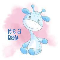 Cartoon cute giraffe boy