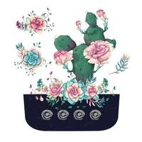 Succulents and flowers in pot hand drawn watercolor