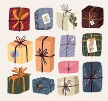 elementos de regalo de dibujos animados lindo de navidad vector