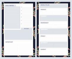 planificador de vacaciones navideñas, diario, conjunto de notas