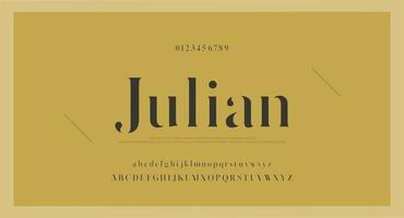 Elegant vintage font with numbers vector