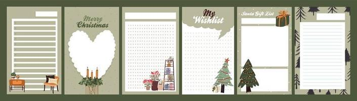 Christmas holiday journal, notepad set vector