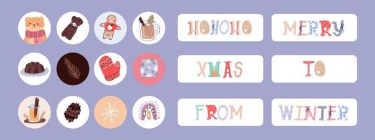 Christmas holiday sticker, labels set vector