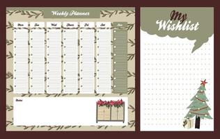 Christmas weekly daily planner in Scandinavian style vector