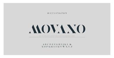 elegante fuente de alfabeto y números de moda