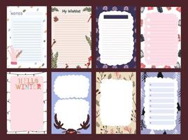 Christmas holiday sticker, journal, notes set vector