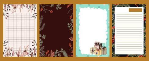 pegatina navideña, diario, conjunto de notas vector