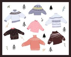 Christmas ugly sweater elements set vector