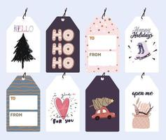 etiquetas navideñas, conjunto de etiquetas de regalo vector