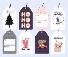 Christmas holiday labels, gift tags set vector