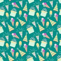 Seamless birthday pattern with ice cream