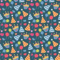 Seamless cute balloon and cake background pattern in vector