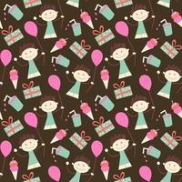 cumpleaños, seamless, papel pintado, niña, y, globo