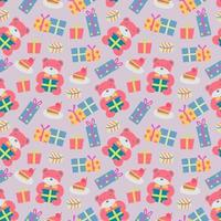Happy Birthday pattern with bear vector