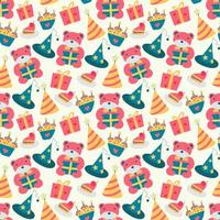 Happy Birthday pattern with bear