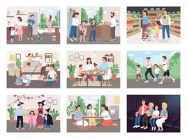 Family routine set vector