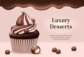Luxury desserts realistic banner template vector