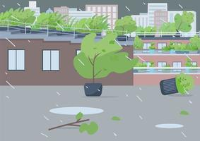 Rainstorm on empty street vector