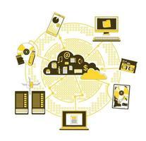 Storage media in the cloud vector