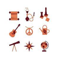 Conjunto de objetos de educación y pasatiempo.