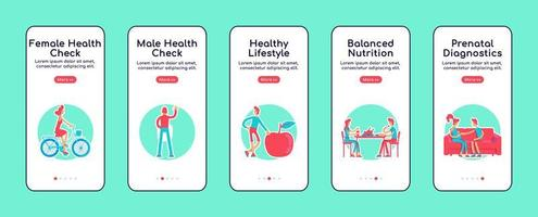 Female and male health check onboarding mobile app screens