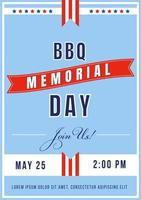 Memorial Day BBQ poster vector