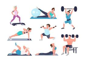 Working out people characters set vector
