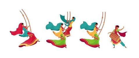 Teej celebration characters set vector