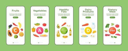 pantallas de aplicaciones móviles de incorporación de vitaminas y minerales