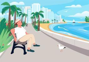 Hombre sentado en un banco de la calle frente al mar