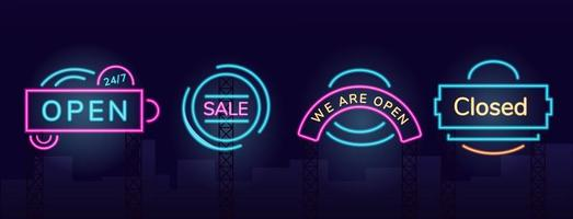 Storefront neon light set vector